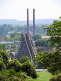 Amusement Park Wooden Roller Coaster stock photo