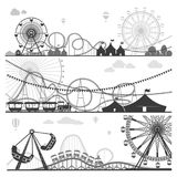 Amusement parks with funny attractions monochrome illustrations set. Amusement parks with huge ferris wheels, exciting roller coasters with dangerous loops Royalty Free Stock Photography