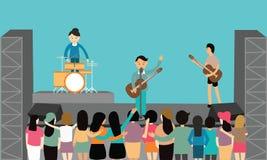 Amusement plat de vecteur de représentation de concert de musique jouant des jeunes d'instrument Image stock