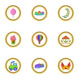 Amusement rest icon set, cartoon style Royalty Free Stock Photography