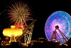 Amusement Ride & Fireworks Royalty Free Stock Photography
