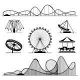 Amusement ride or luna park roller coasters entertainment vector set. Rollercoaster and swing, whirligig and ferris illustration Royalty Free Stock Images