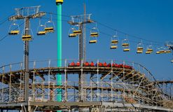 Amusement Rides. In motion on one of Wildwood New Jersey's Piers Royalty Free Stock Image