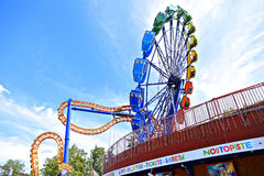 Amusement rides in the amusement park in Helsinki Royalty Free Stock Photos
