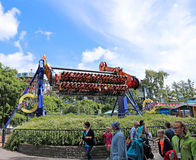 Amusement rides in the amusement park in Helsinki Royalty Free Stock Images