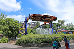 Amusement rides in the amusement park in Helsinki Royalty Free Stock Photo
