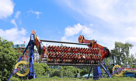 Amusement rides in the amusement park in Helsinki Stock Photos