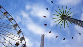 Amusement rides at a carnival stock video footage