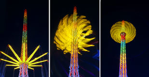 Amusement rides night Stock Photos