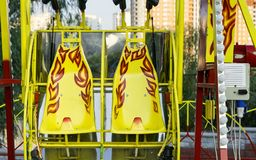 Amusement rides in the park stock image