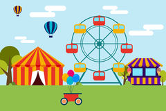 Amusement theme park flat design. Colorful amusement theme park included ferris wheel, circus, ice cream shop and balloons flat design Royalty Free Stock Photo