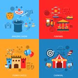 Amusements Park Flat Set Royalty Free Stock Photography
