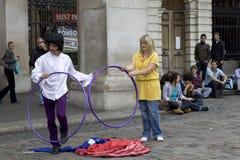 Amuseur de rue dans la région du marché de jardin de Covent de Image libre de droits