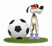 Amusing 3d dog football player. Stock Photography