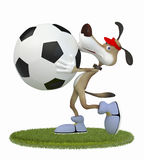 Amusing 3d dog football player. Royalty Free Stock Photography