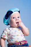 Amusing baby boy in a beret Royalty Free Stock Images