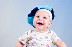 Amusing baby boy in a beret stock images