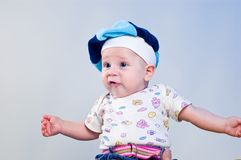 Amusing baby boy in a beret Royalty Free Stock Photography
