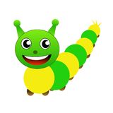 Amusing caterpillar on a white background Stock Photos