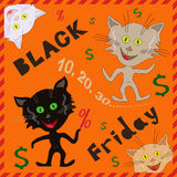 Amusing cats announcing a Black Friday Royalty Free Stock Images