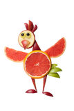 Amusing chicken made of fruits. On isolated background royalty free stock images