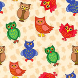 Amusing colourful owls seamless pattern Stock Images