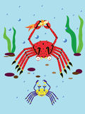Amusing crabs. Two amusing crabs. Illustration. Vector Royalty Free Stock Image