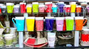 Amusing crafts. Amusing front store and creativity at Veliko Tarnovo, Bulgaria.Cups seem to be creased but it is new stuff Royalty Free Stock Photo