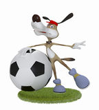 Amusing 3d dog football player. Stock Images