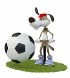Amusing 3d dog football player. Royalty Free Stock Image