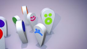 Smiling Emoticon Figures Play Cheery. An amusing 3d illustration of smiling multicolored emoticons looking like big drops and and turning one after another stock illustration