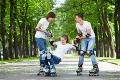 Amusing driving on rollers royalty free stock photos