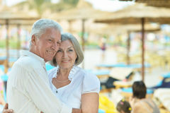 Amusing elderly couple Stock Photos