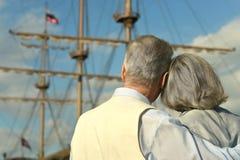 Amusing elderly couple Stock Photos