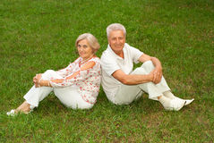 Amusing elderly couple  together Stock Photo