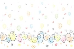 Amusing emotional cats on a festive background of balloons, flowers, hearts, spirals Drawing Sketch Background Vector. Amusing emotional cats on a festive vector illustration