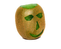 Amusing fruit. Head (eye, nose, mouth, bald head), cut out from the ripened fruit kiwi Stock Image