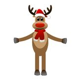 Amusing funny deer in a new-year cap on a white background Stock Image
