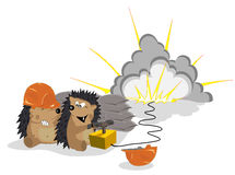 Amusing hedgehogs the builders vector illustration