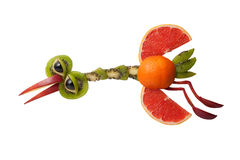 Amusing heron made of fruits Royalty Free Stock Images