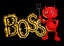 Boss - a demon. Amusing inscription for various application Royalty Free Stock Images