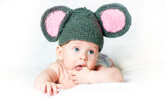 The amusing kid - a little mouse Royalty Free Stock Photography