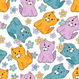 Amusing kitten seamless pattern. Hand drawn amusing little kitten vector seamless pattern. Made in  light pastel tones Royalty Free Stock Photos