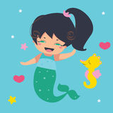 Amusing Little Mermaid and seahorse Royalty Free Stock Photography
