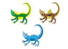Amusing lizards. Three little amusing lizards. Vector Royalty Free Stock Images