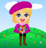 Amusing merry girl with flowers in hands Stock Images