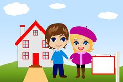 Amusing merry pair on a background a new house Stock Image