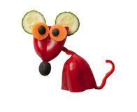 Amusing mouse made of pepper and cucumber stock photography