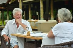 Amusing old couple at cafe table Royalty Free Stock Image