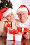 Amusing old couple at Christmas Royalty Free Stock Photo